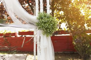 outdoor wedding shrubs