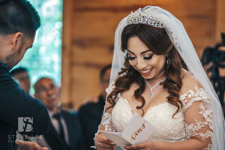 happy bride at ceremony