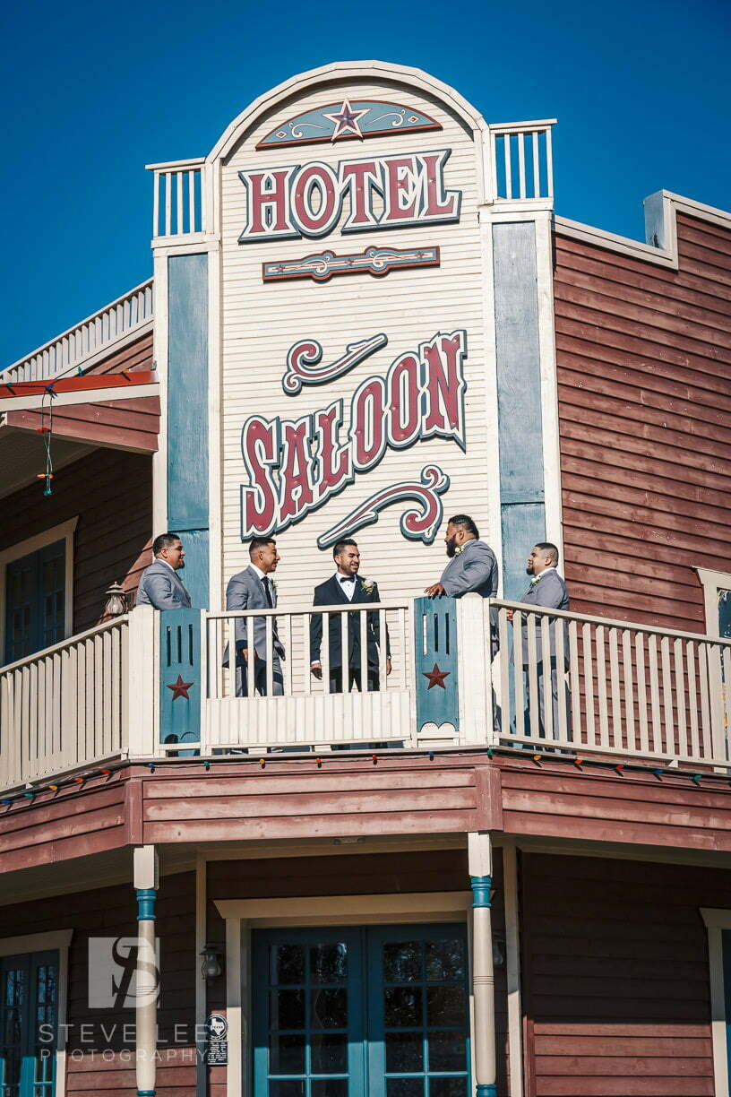groomsmen hanging out at saloon