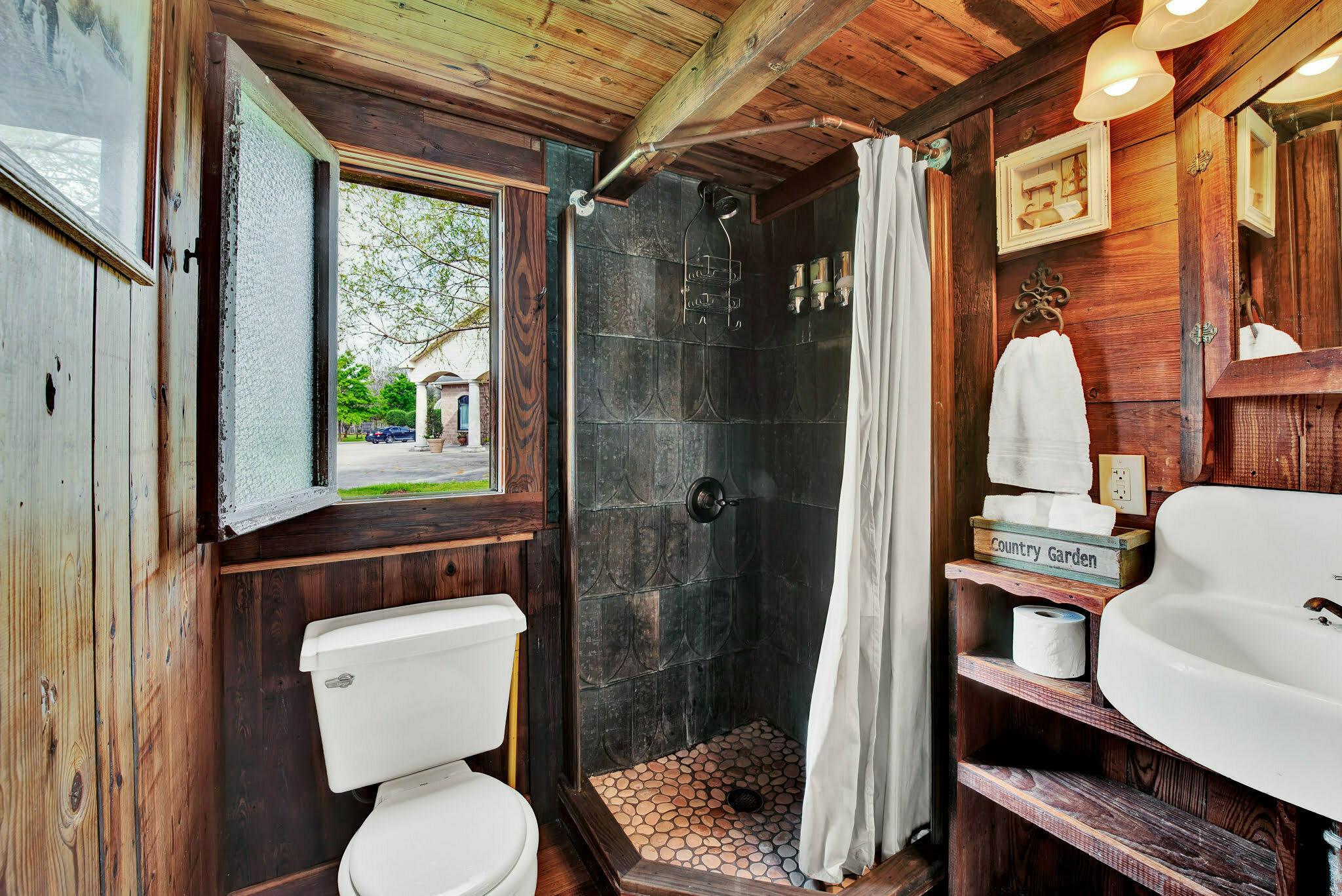 bathroom in rustic oaks