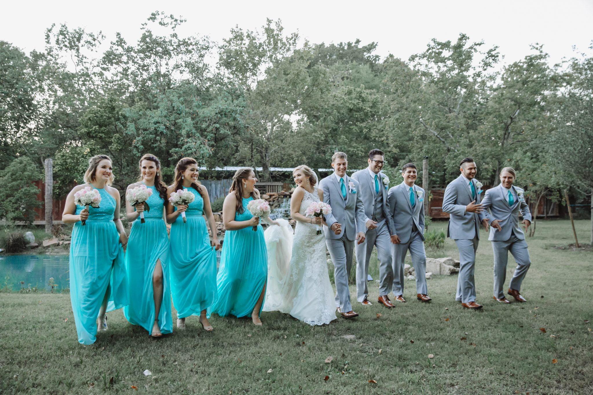 rustic outdoor wedding bridal party