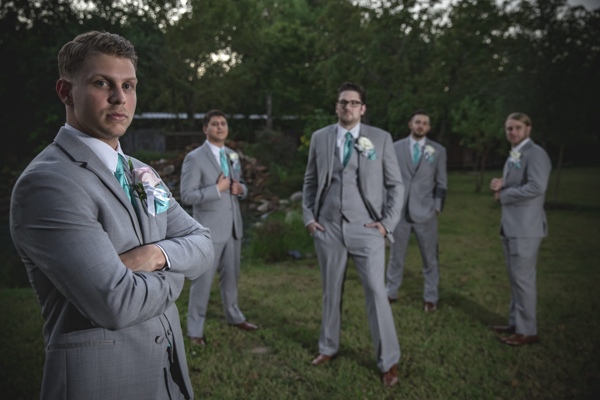 groomsmen outside wedding in houston