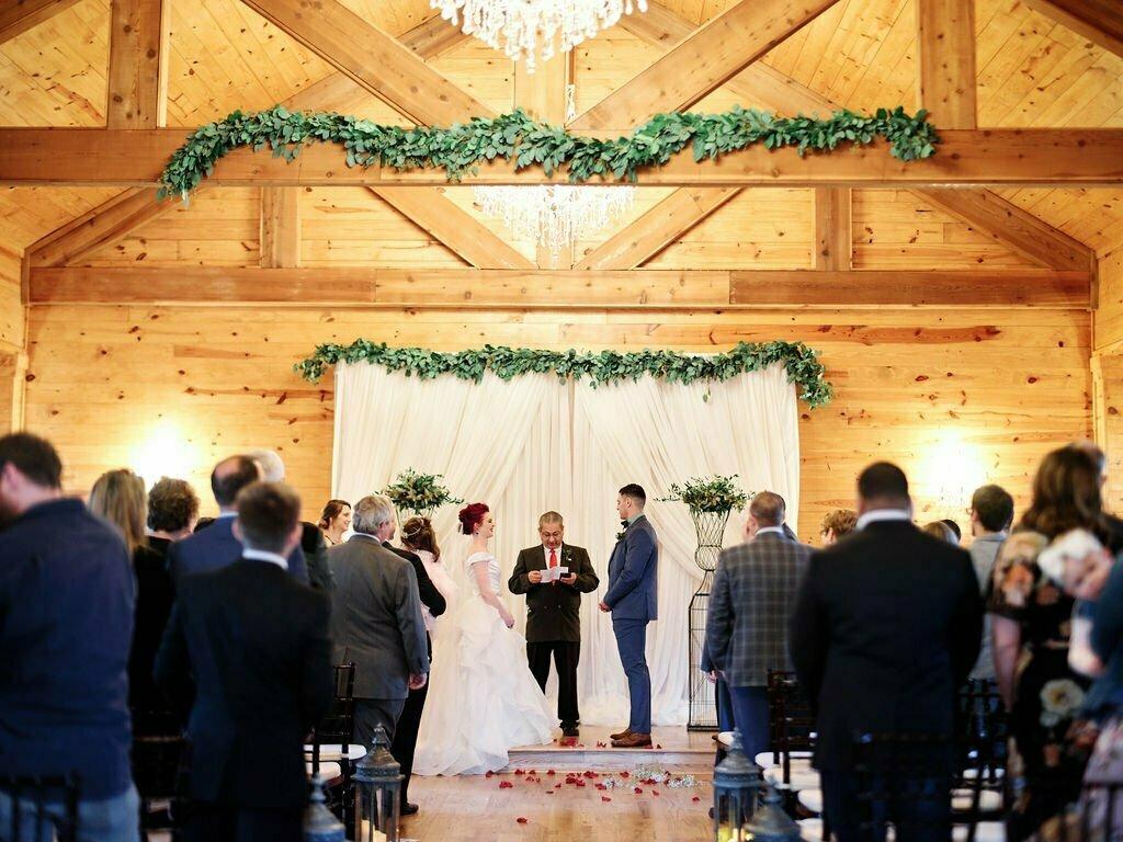 bride and groom wedding chapel