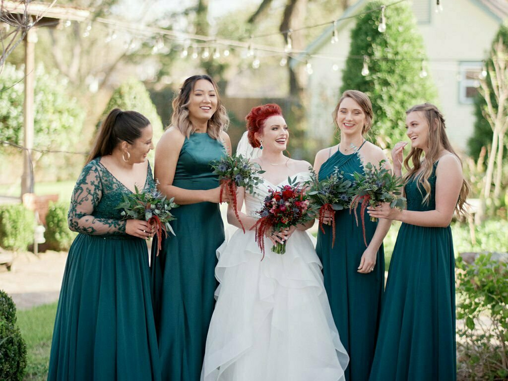bridesmaids at wedding in houston