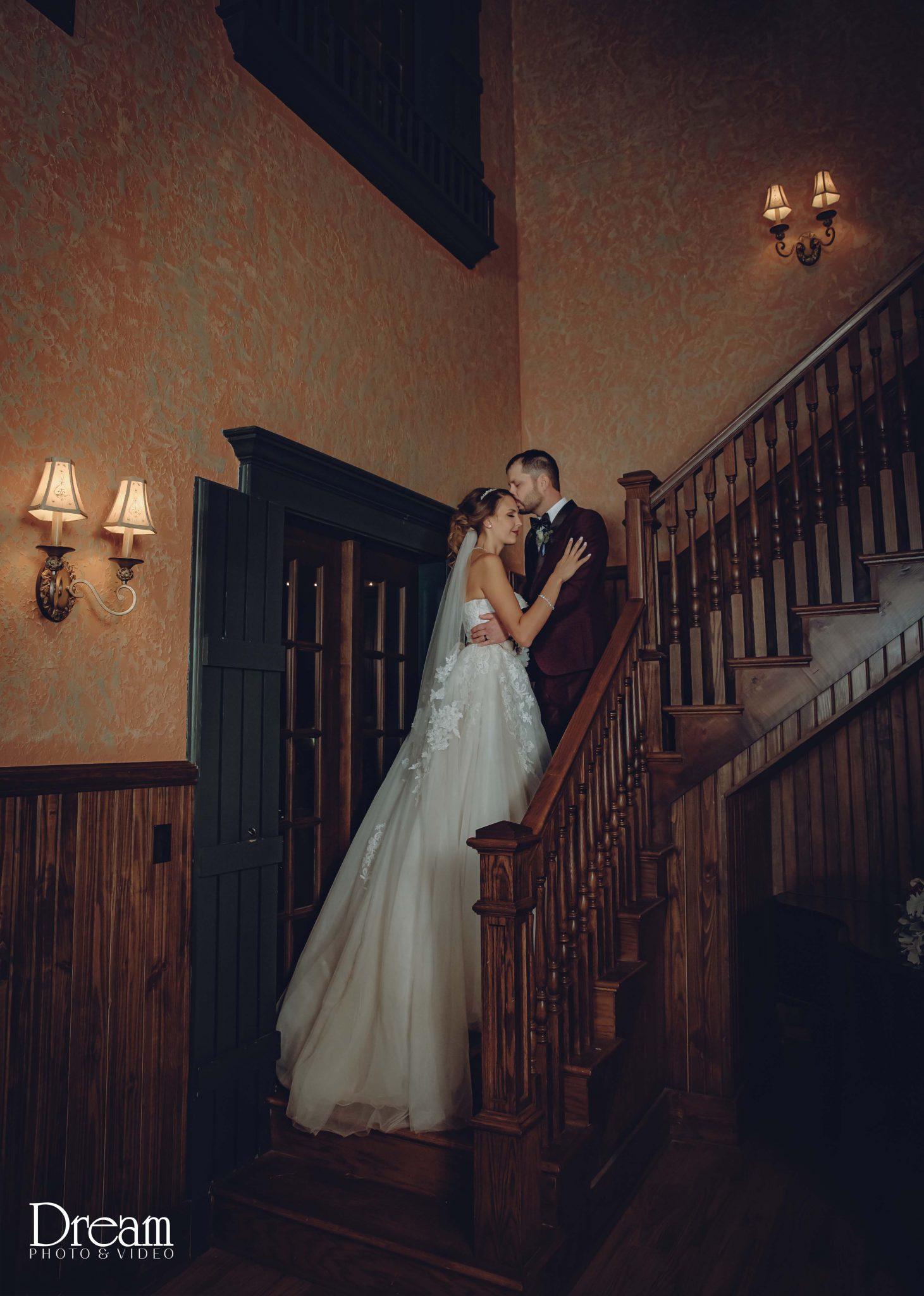 rustic fall wedding bride and groom wedding portrait