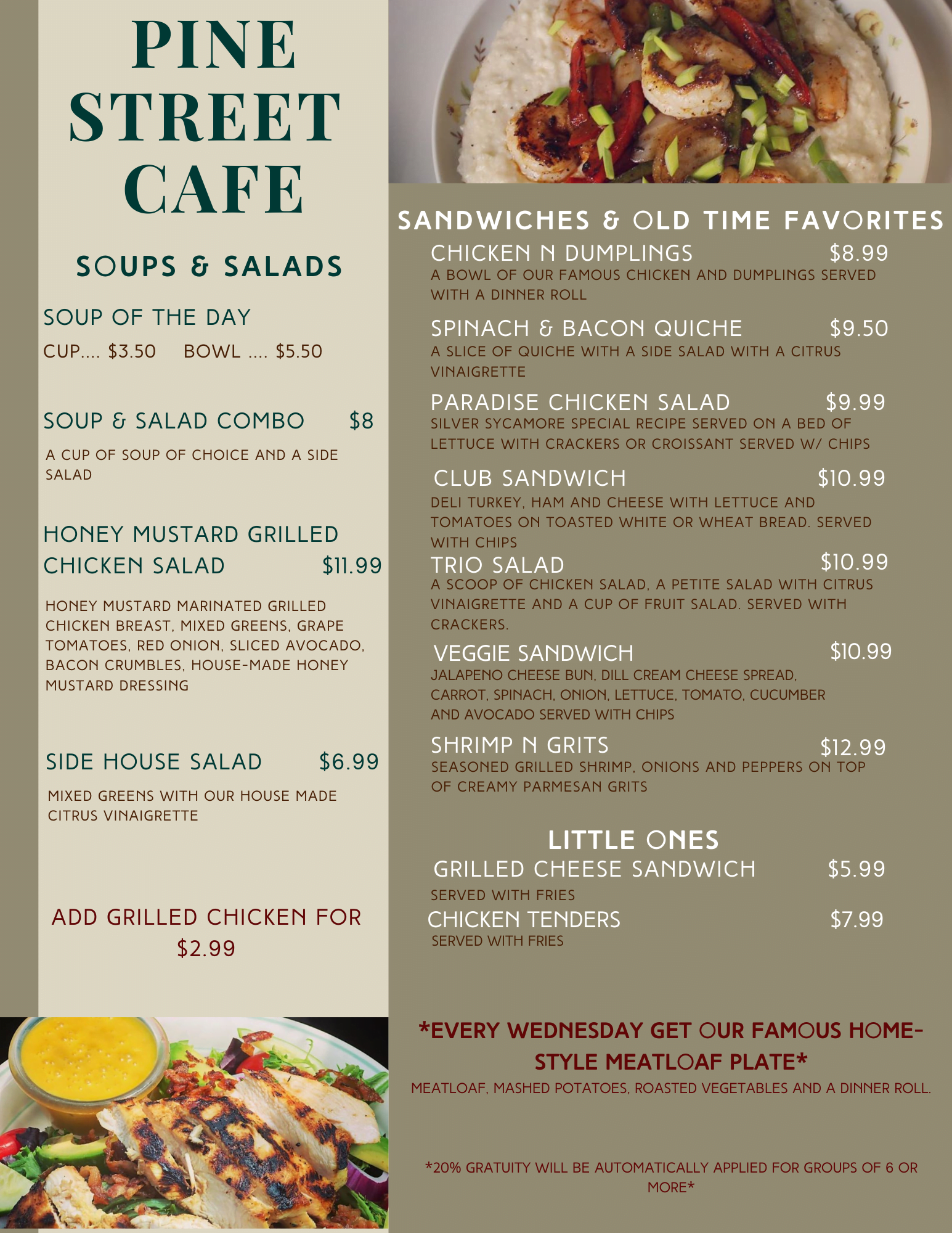 pine street cafe lunch menu soups salads and sandwiches