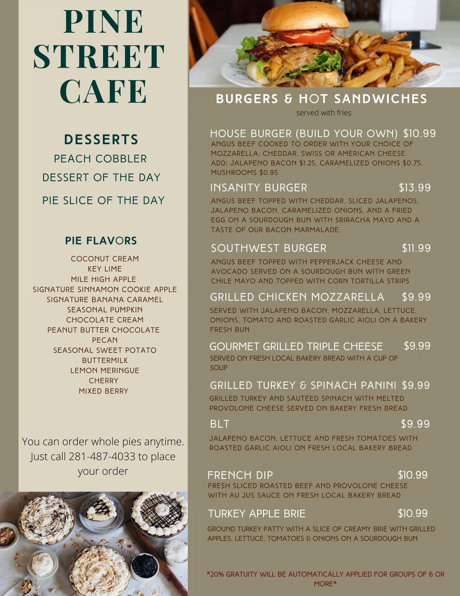 pine street cafe lunch menu burgers and desserts