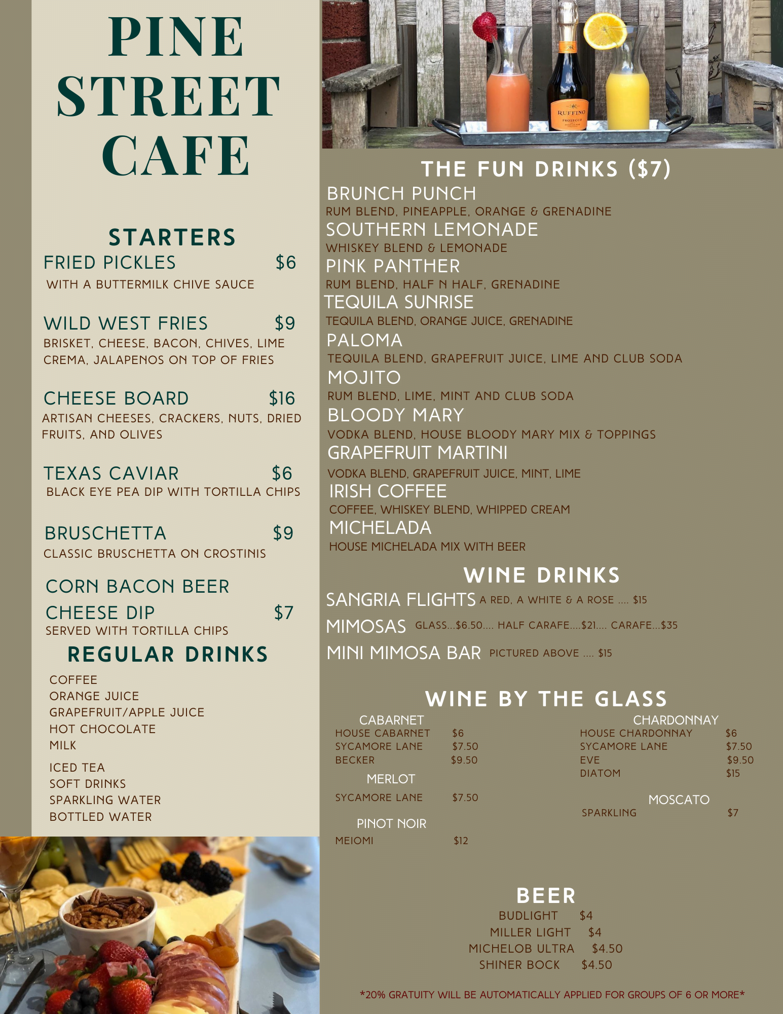 pine street cafe drink and appetizers menu
