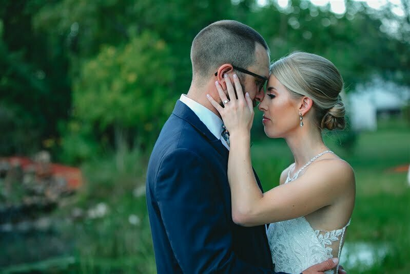 bride and groom portrait at silver sycamore